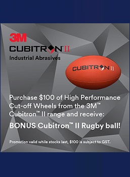 Buy $100 of 3M Cubitron ll Cut Off Discs and recieve a rugby ball!