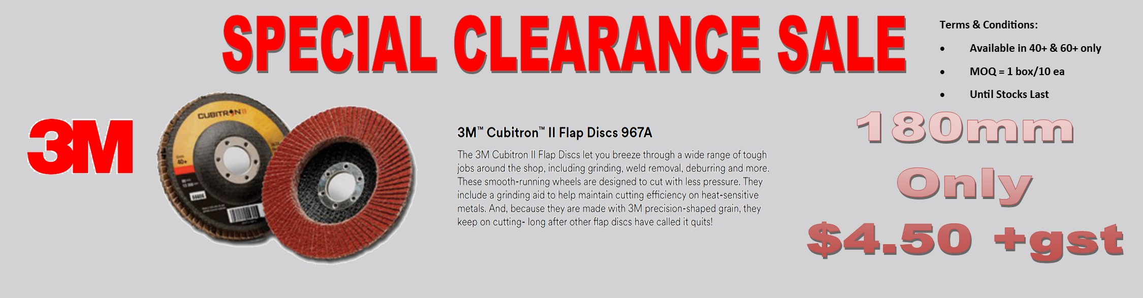 3M 967x180 Flap Disc Clearence