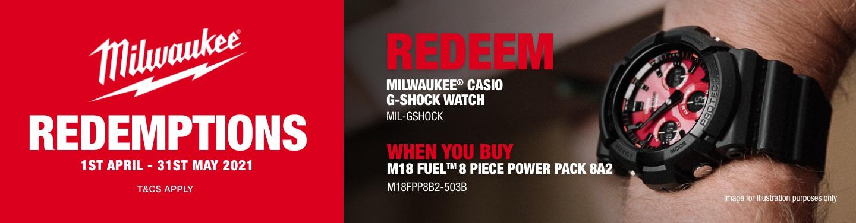 Milwaukee G-Shock Redemption Promo